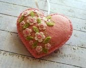 Pink Heart ornament, Felt Heart ornament, Pink Heart, Wedding decor, Valentine decorations, Floral heart ornament, Valentine's day gift
