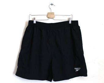 90s Vintage Reebok Swim Trunks Black Swim Shorts Embroidered Nylon Shorts Lined Swim Mens Size L XL