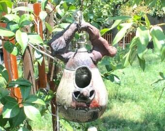 Decorative Raku Birdhouse #08, Metallic Ceramic Raku Birdhouse, Hanging Pottery Birdhouse