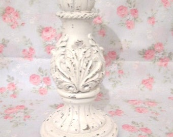 Shabby Ornate Carved Flourishes White Chippy Distressed Pillar Candle Holder Chic Victorian Cottage
