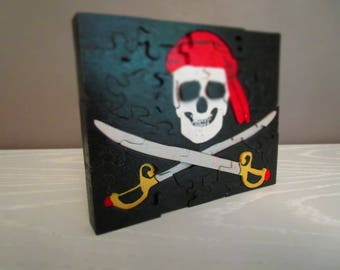 Pirate flag puzzle wooden