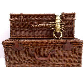 Two French Vintage antique  large Picnic Baskets Storage Wicker - French Country Display Props