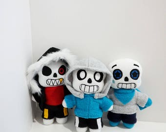 Set of 3 Plushies ~ Underswap/Undertale/Underfell Sans Plushies (Unoffficial)