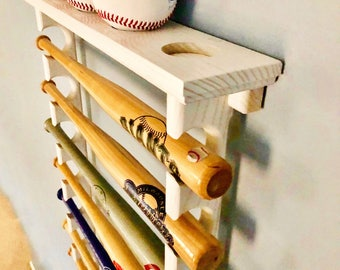 10 Mini Souvenir Bat Horizontal Baseball Bat display Rack with Ball Shelf (shown in white)