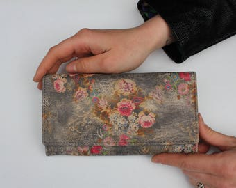 Large clip wallet n21 floral leather