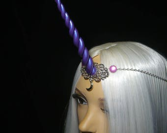 Equinox Amethyst Unicorn - Tiara with handsculpted purple pearlescent horn