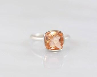 Blush Jewelry, Morganite Ring, Wedding Ring, Bridal ring, Natural stone silver ring, Bridesmaid ring, Cushion ring, Faceted stone Ring