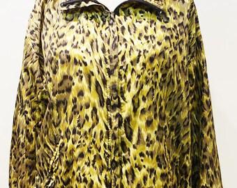 Vintage 90s Leopard Print Animal Print Bomber Track Jacket