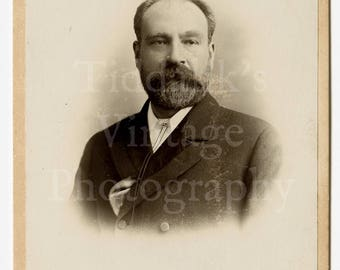 Cabinet Card Photo - Victorian Handsome Smart Man Beard Portrait - London Studios Cardiff Wales - Antique Photograph