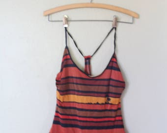 vintage 1970's brown & coral striped palm tree sunset one piece swimsuit womens
