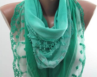 Valentines Gift For Her Lace Scarf Mint Scarf Soft Cotton Scarf Bridal Accessories  Fashion Accessories Mint Green Scarf Gift For Women