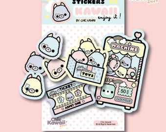 Chic Kawaii Alpaca llama stickers pack, lovely pastel cute.