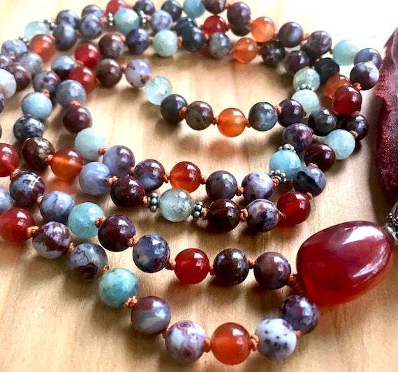 Root Chakra Mala Beads, Red Lightning Agate, Carnelian Aquamarine Chakra Tassel Necklace, Creativity, Yoga Jewelry, Grounding, Communication