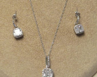 Vintage classic sterling silver special occasion bridal CZ cubic zirconia pave gem stone pendant necklace and dangle pierced earrings set
