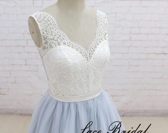 Wedding Dress , Ivory Bridal Dress, Romantic Light Blue Wedding Dress, Tulle A-line Wedding Gown with Organza