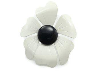 Vintage White Flower Brooch, Enamel on Metal