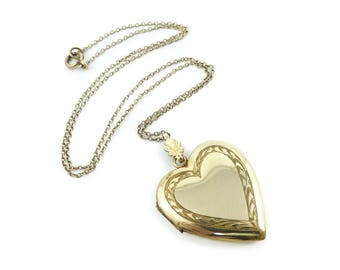 Vintage Heart Photo Locket, Necklace, Gold Filled, Signed Charme GF