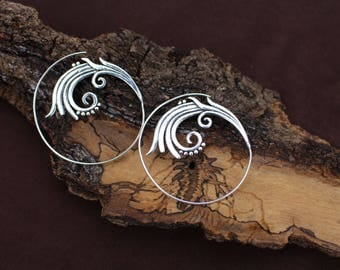 Spiral Silver Earrings, Silver Plated, Tribal Jewelry, Ethnic Earrings, Boho Earrings, White Brass Earrings, Boucles d'oreille Laiton Spiral