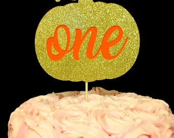 Pumpkin one cake topper, Pumpkin cake topper, 1st birthday pumpkin cake topper, one pumpkin cake topper, pumpkin decor, one cake topper