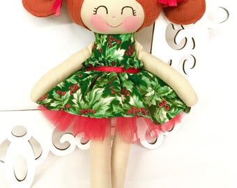 Christmas doll, Handmade Dolls, Fabric Dolls, Soft Doll, Gifts for Girls,Soft Doll