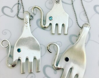 Elephant Fork Necklace - silver plated - Silverware jewelry - Gift for Her