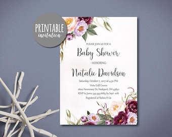 Floral Baby Shower Invitation Printable Baby shower Invitation Girl Baby Shower Invitation Pink Burgundy Lilac Fall Baby Shower Invitation,