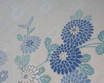 Floral kimono fabric / Light blue / Chrysanthemum / Vintage Kimono silk fabric