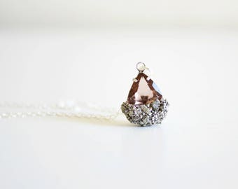 Champagne pyrite necklace - champagne bridesmaid necklace -