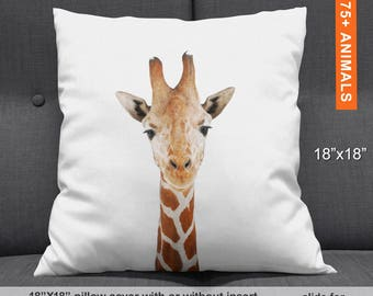 Giraffe Throw Pillow, Giraffe Pillow Case, Animal Pillows for Nursery, Throw Pillow Covers 18x18 Animal, Giraffe Pillow Cover Animal Nursery