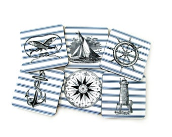 Nautical Coasters Set, Sailing Drink Coasters, Nautical Gift, Blue and White Coastal Decor, Coasters for Beach House, Housewarming Gift