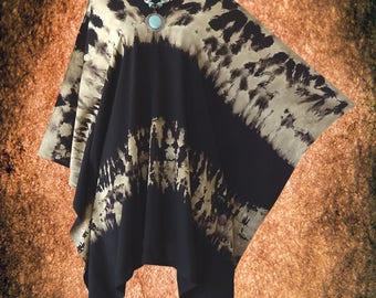 Minimalist Bleach Effect V neck Tie dye Poncho Top blouse