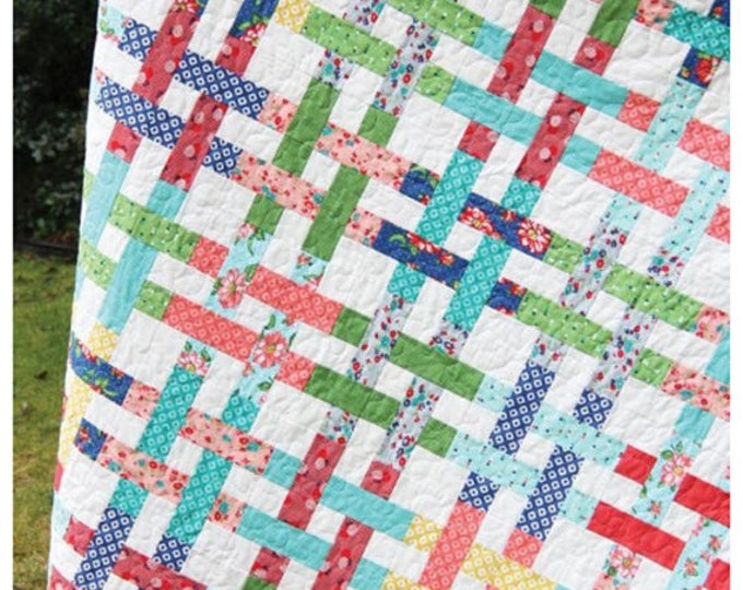 Basket Case Quilt Pattern #116 by Cluck Cluck Sew - Simple Jelly Roll Quilt - 5 Different Sizes (w740)