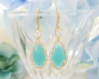 Gold Mint Dangle Teardrop Earrings ~ Turquoise Drop Earrings ~ Mint Bridesmaid Jewelry ~ Gold Crystal Earrings ~ Mint Blue Earrings E2443