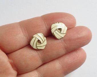 Small Stud Earrings Cream Enamel Creamy White & Gold Enameled Studs Neat Pale Colored