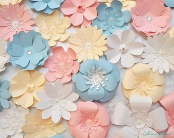 Assorted Small Paper Flowers, 24 pcs. Premium Cardstock Flowers for DIY Party Decoration, Embellishment, Gift Wrapping Accessories, Backdrop