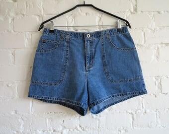Blue Denim Shorts Jeans Denim Shorts Vintage Women's Blue Denim Shorts Medium Size