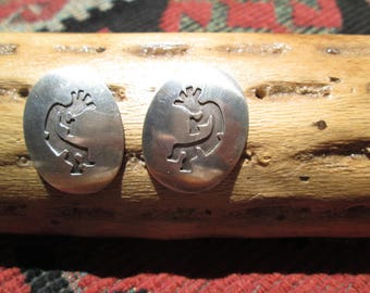 Native American Hopi Overlay Kokopelli Sterling Silver Post Earrings