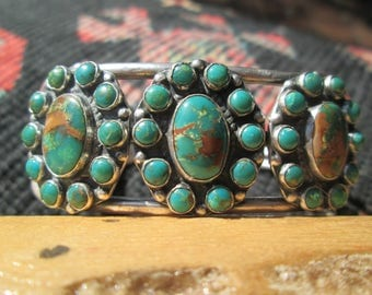 Vintage Royston Turquoise and Sterling Silver Cuff Bracelet