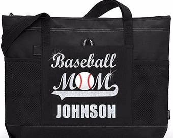 "PLAYER NAME 20"" Baseball MOM Sports Bag with soft Microfiber or Glitter design. Rush Shipping available"