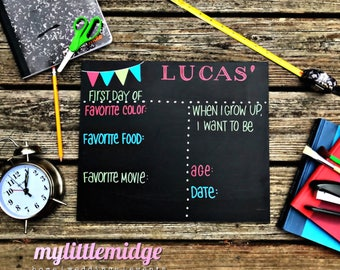 """The ORIGINAL First Day of School REUSABLE 11x14"""" wooden chalkboard with Free Personalization"""