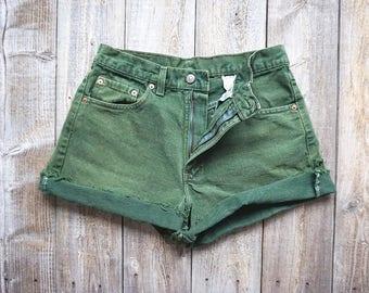"""Vintage Levis 554 Green Over Dye Cutoffs - 80s Denim Jean Shorts - Levi Strauss - Made in USA - Womens Medium Large - Waist 30""""-31"""""""
