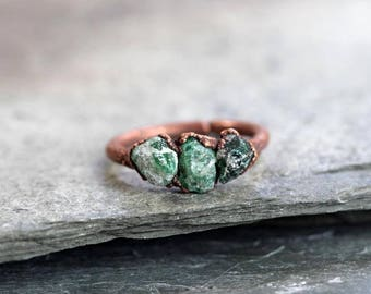 Raw Emerald Ring Electroformed Copper Ring Multi Stone Ring Natural Stone Emerald Birthstone Green Ring Taurus Jewelry