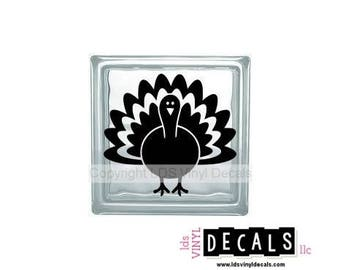 Turkey  - Fall Vinyl Lettering for Glass Blocks - Thanksgiving Craft Decals