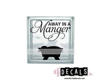 AWAY IN A Manger - Christmas Vinyl Lettering for Glass Blocks - Holiday Craft Decals