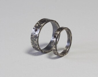 Hammered Black Diamond Ring Set, Oxidized Sterling Silver, Matching Ring Set, Alternative Ring, Unique Wedding Bands