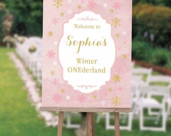 Winter Wonderland First Birthday Welcome Sign , Winter ONEderland Birthday Sign, Girls First Birthday Welcome Sign, Printed Or Digital File