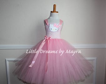 Pink Hello Kitty inspired tutu dress and matching bow, Hello Kitty birthday party inspired tutu dress size nb to 14years
