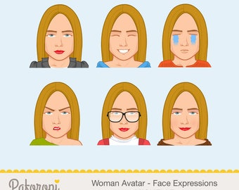 Woman Facial Expression Clipart - MICHELLE
