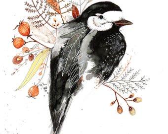 bird posy No 2, water color print