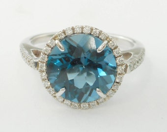 Swiss-Blue Topaz Engagement Halo Ring in 14 K White Gold with Round 10 mm Round Faceted Stone AA-Grade and Diamond Accent stones